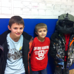 Kadyden, Elan and Brady - who wanted to be like his dad, so he refused to take off his flying helmet.